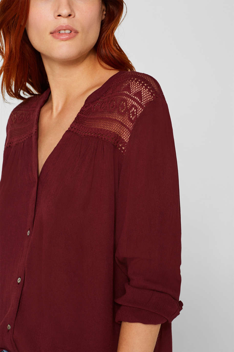 Henley blouse in a crinkled look, BORDEAUX RED, detail image number 2