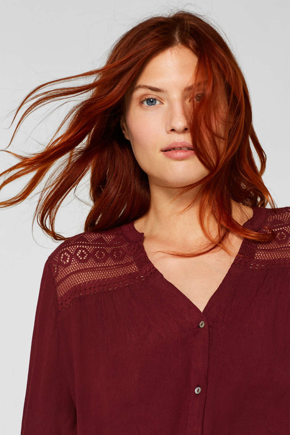 Henley blouse in a crinkled look, BORDEAUX RED, detail image number 6