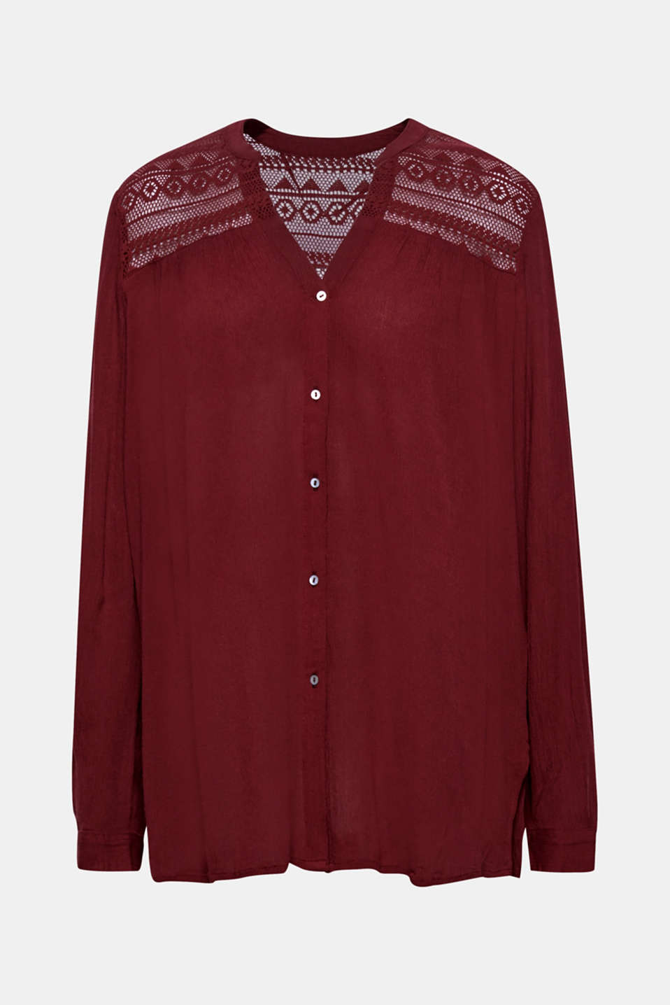 Henley blouse in a crinkled look, BORDEAUX RED, detail image number 7