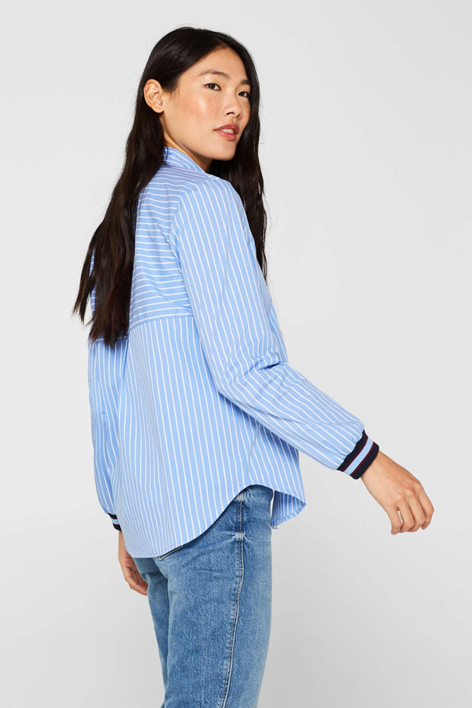 Striped blouse with contrasting trims, LIGHT BLUE, detail image number 5