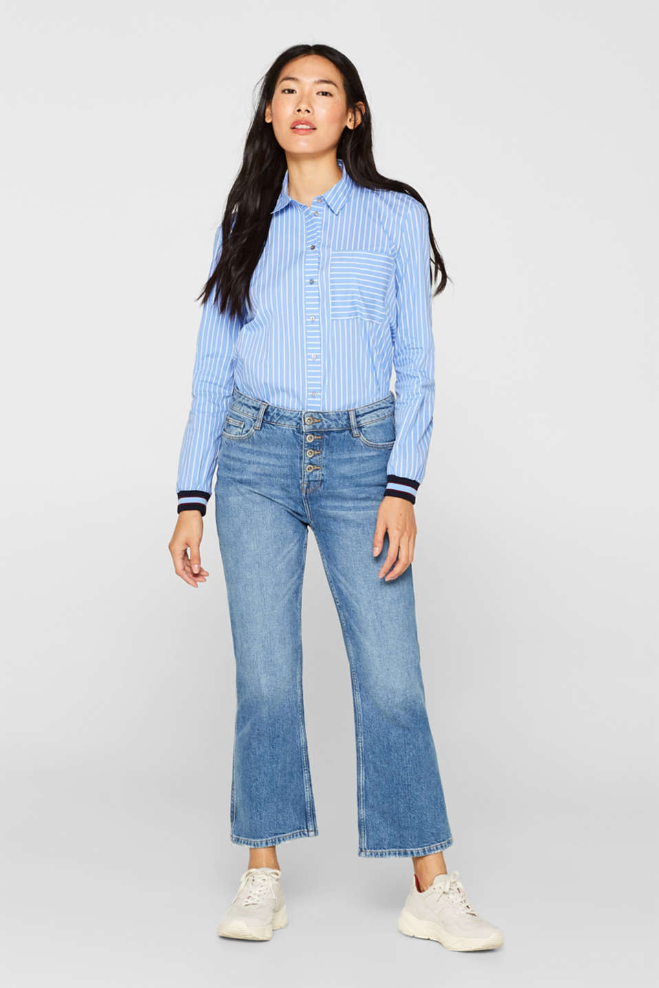 Striped blouse with contrasting trims, LIGHT BLUE, detail image number 1