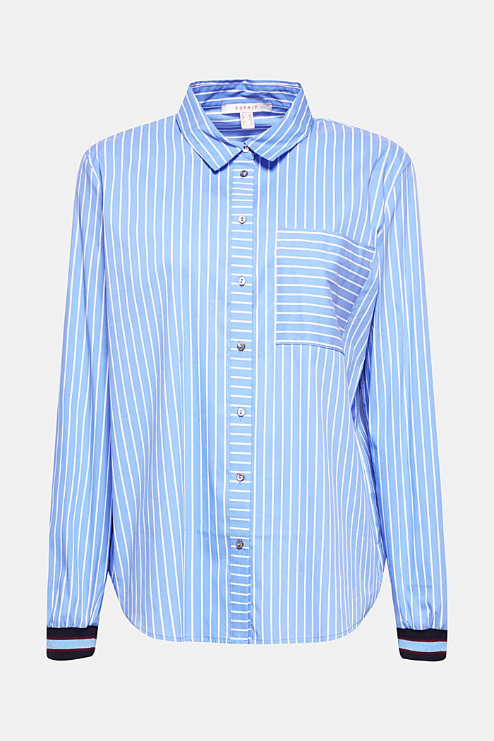 Striped blouse with contrasting trims, LIGHT BLUE, detail image number 0
