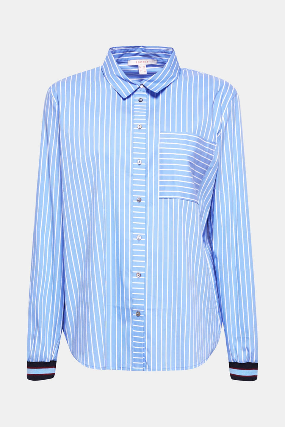 Striped blouse with contrasting trims, LIGHT BLUE, detail image number 6