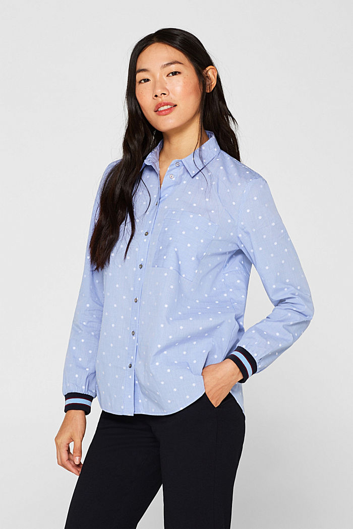 Shirt blouse with rib knit cuffs, 100% cotton, LIGHT BLUE, detail image number 0