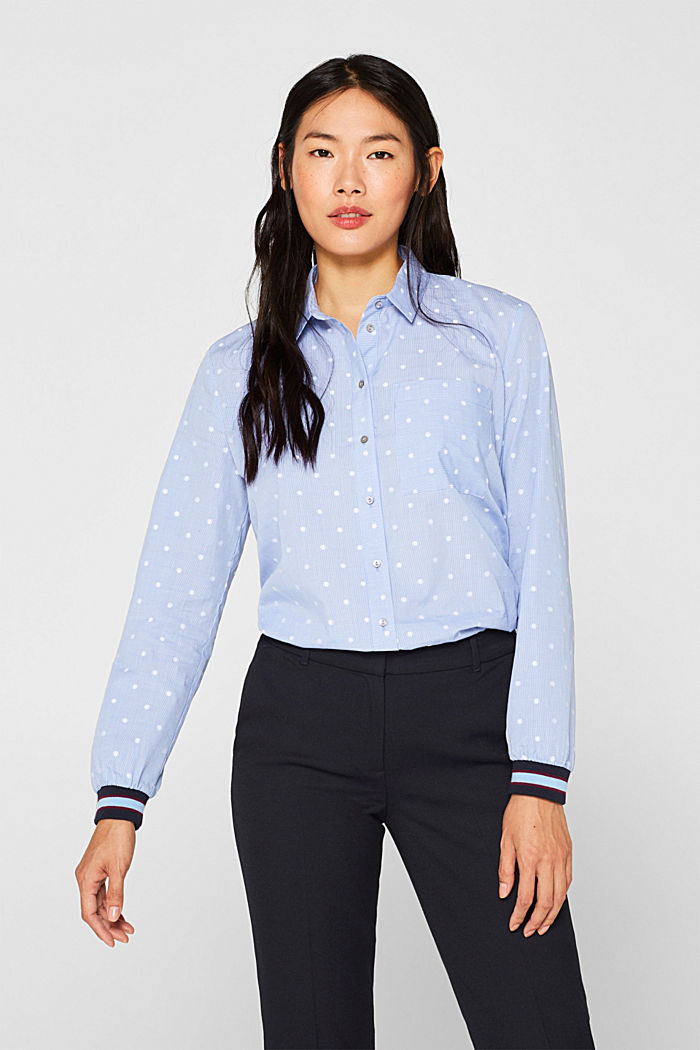 Shirt blouse with rib knit cuffs, 100% cotton, LIGHT BLUE, detail image number 5