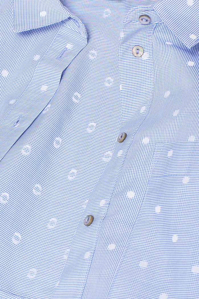 Shirt blouse with rib knit cuffs, 100% cotton, LIGHT BLUE, detail image number 4