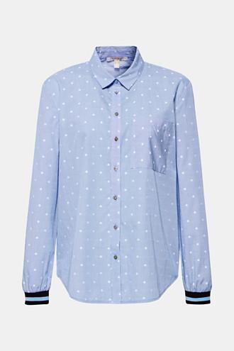 Shirt blouse with rib knit cuffs, 100% cotton