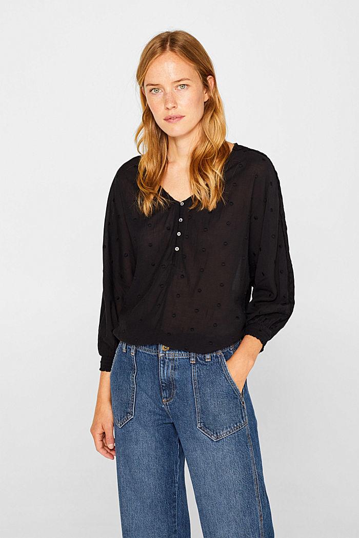 Lace-trimmed blouse, BLACK, detail image number 0