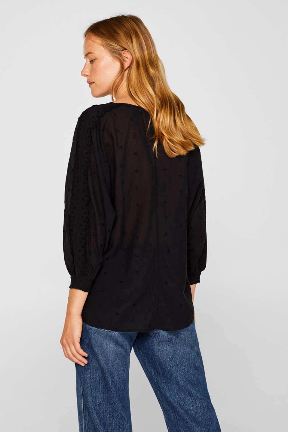 Lace-trimmed blouse, BLACK, detail image number 3