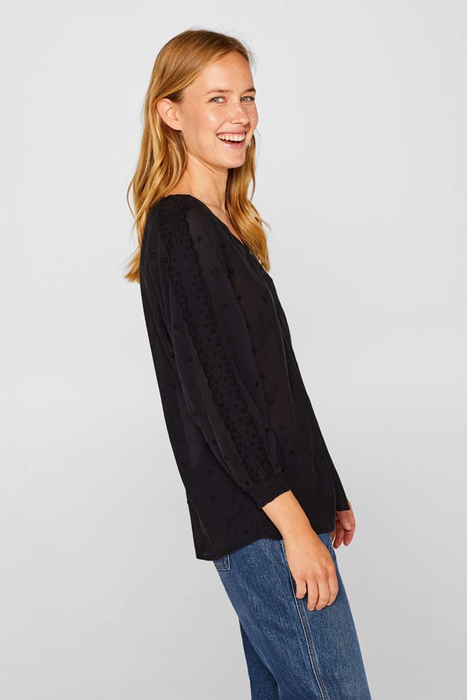 Lace-trimmed blouse, BLACK, detail image number 5
