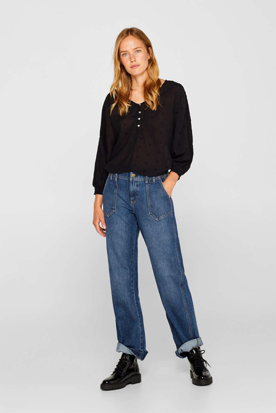 Lace-trimmed blouse, BLACK, detail image number 1