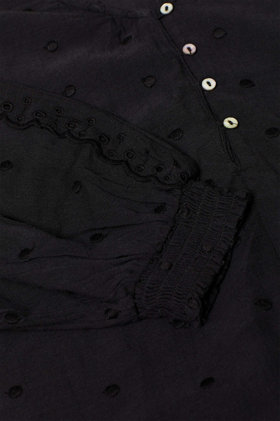 Lace-trimmed blouse, BLACK, detail image number 4