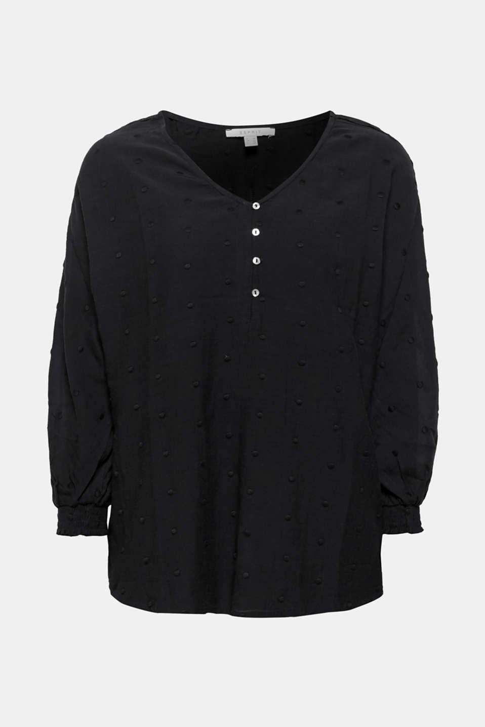 Lace-trimmed blouse, BLACK, detail image number 6