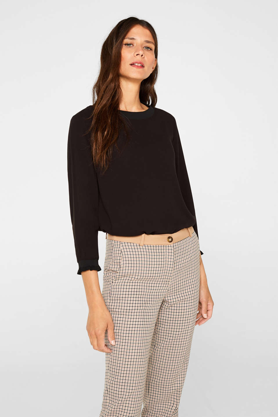 Esprit - Blouse with ribbed cuffs