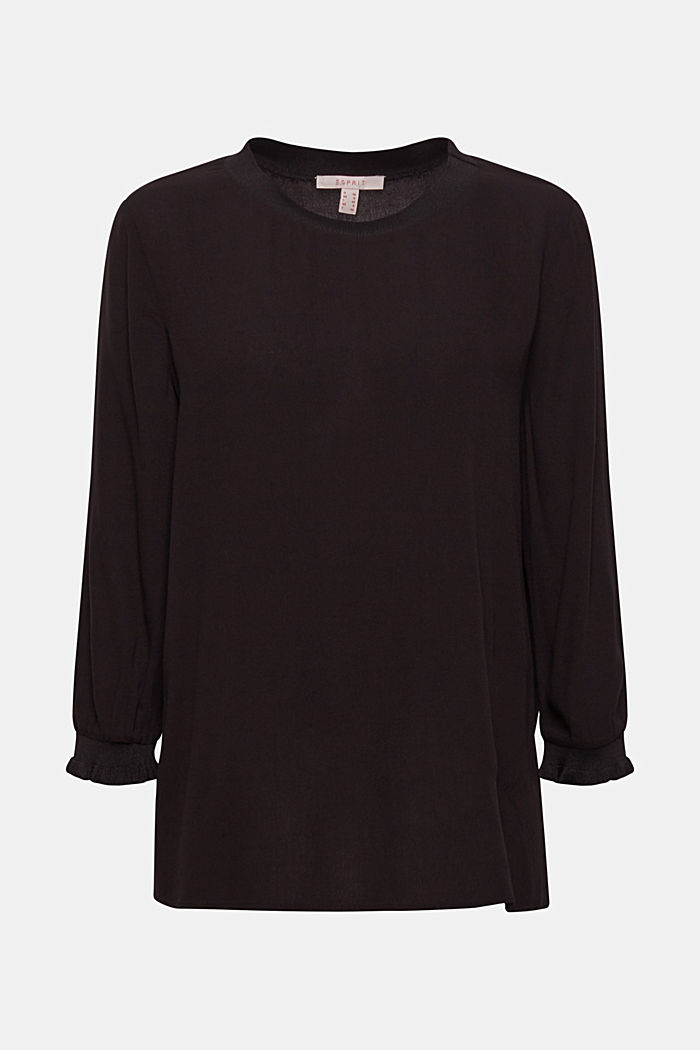 Blouse with ribbed cuffs, BLACK, detail image number 7