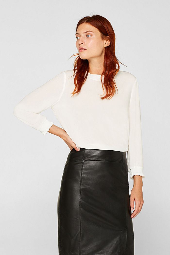 Blouse with ribbed cuffs, OFF WHITE, detail image number 0
