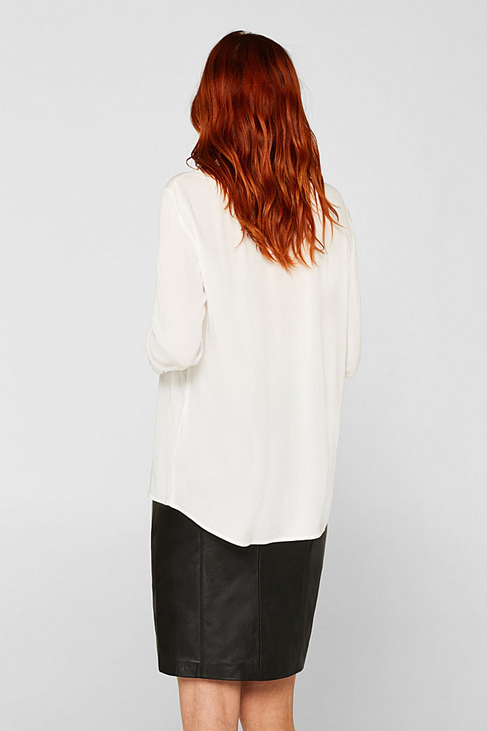 Blouse with ribbed cuffs, OFF WHITE, detail image number 3