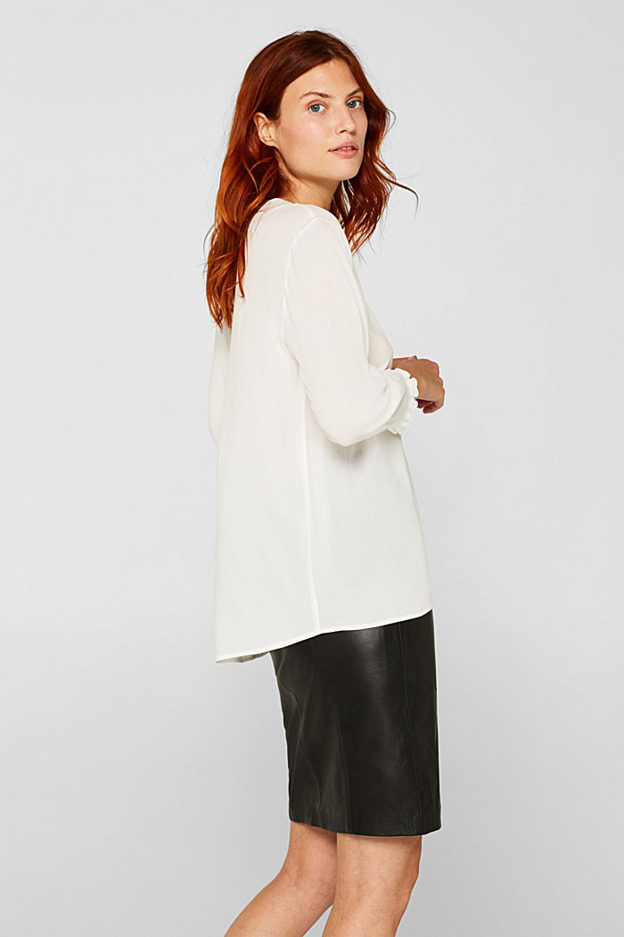 Blouse with ribbed cuffs, OFF WHITE, detail image number 5