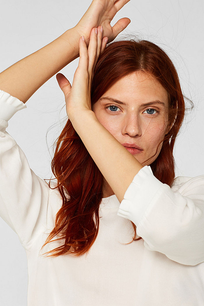 Blouse with ribbed cuffs, OFF WHITE, detail image number 6