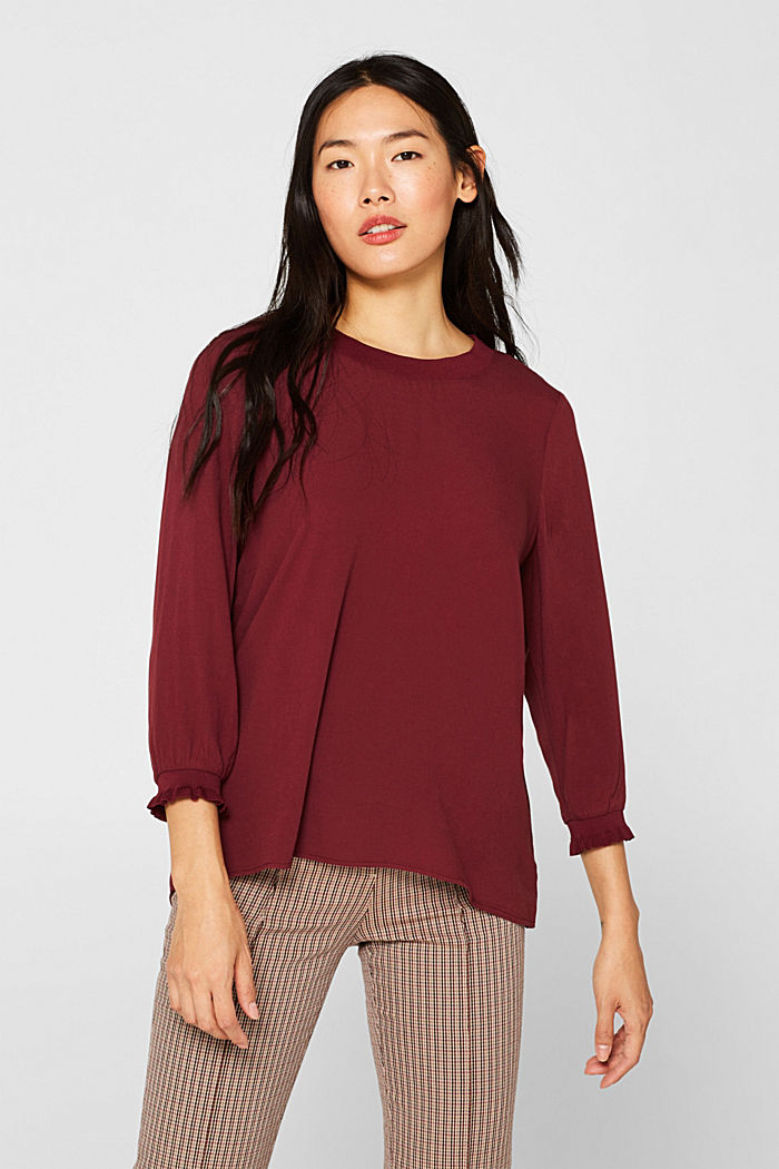 Blouse with ribbed cuffs, BORDEAUX RED, detail image number 0