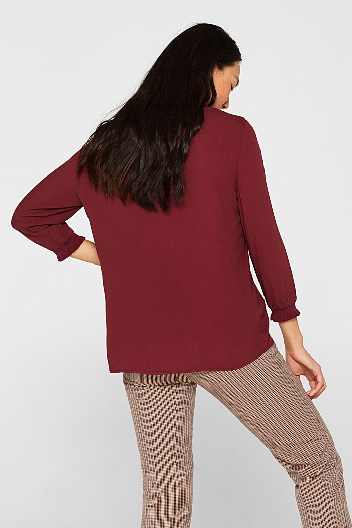 Blouse with ribbed cuffs, BORDEAUX RED, detail image number 3