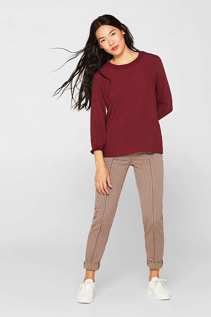 Blouse with ribbed cuffs, BORDEAUX RED, detail image number 1