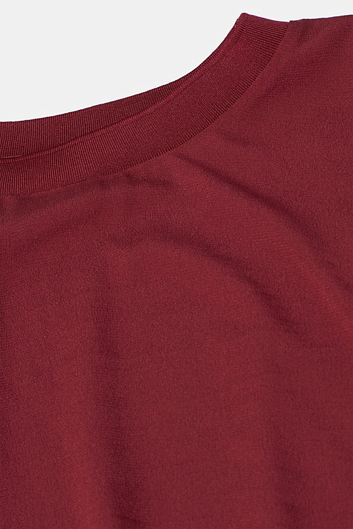 Blouse with ribbed cuffs, BORDEAUX RED, detail image number 4