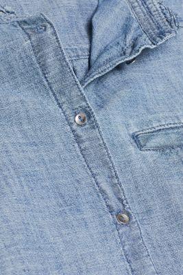 Denim blouse, 100% cotton, GREY BLUE, detail