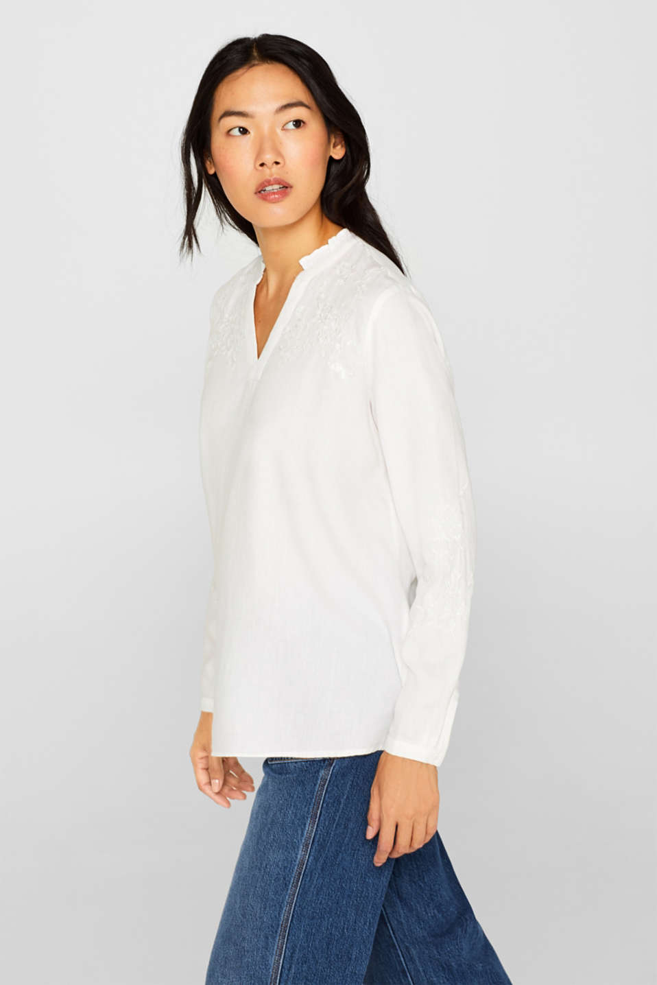 Check out this embroidered linen tunic made of blended lyocell, OFF WHITE, detail image number 5