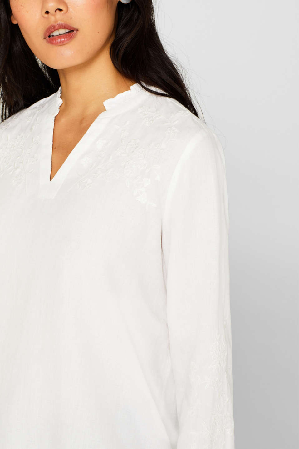 Check out this embroidered linen tunic made of blended lyocell, OFF WHITE, detail image number 2