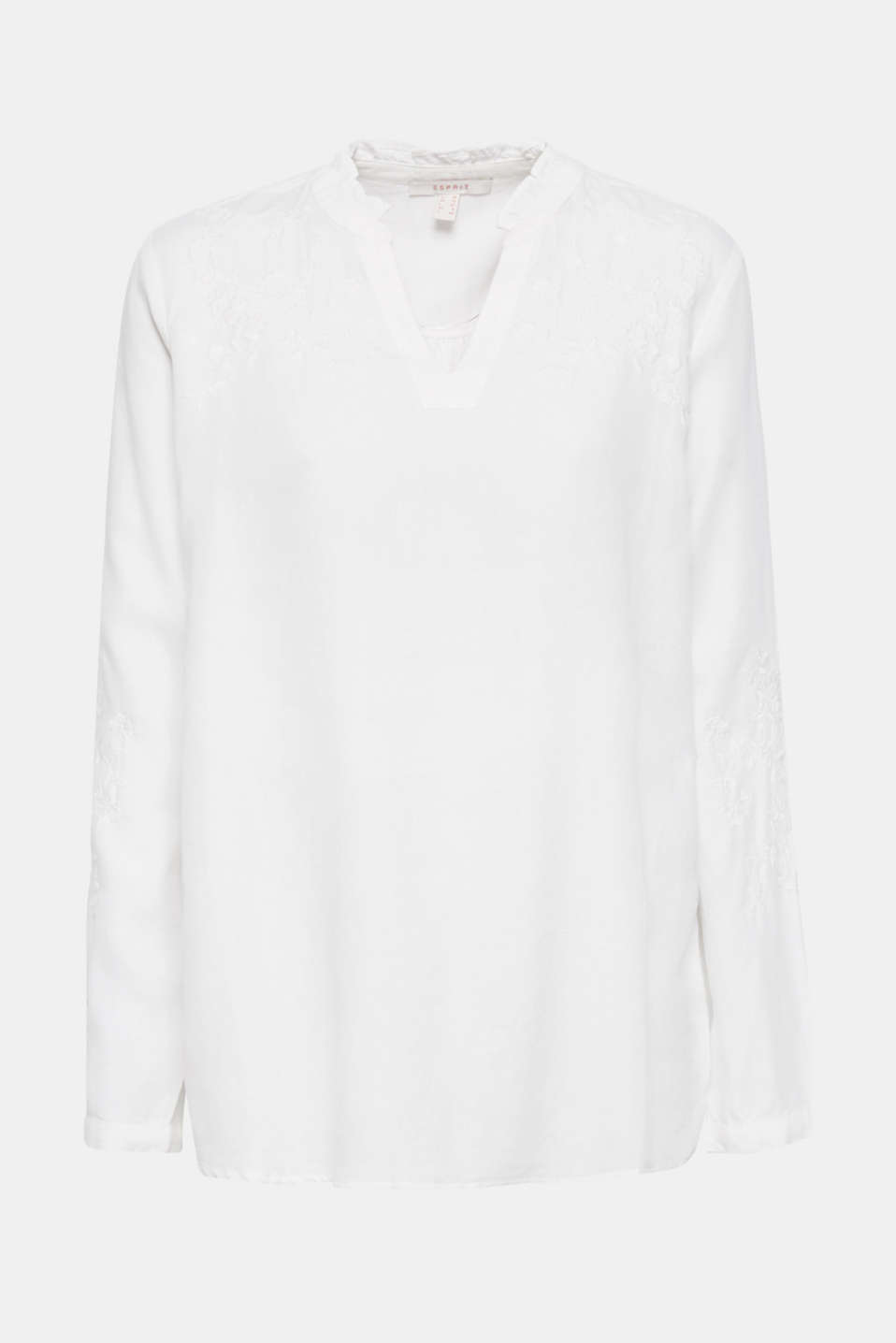 Check out this embroidered linen tunic made of blended lyocell, OFF WHITE, detail image number 6