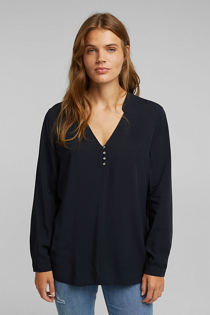 Henley blouse with mother-of-pearl buttons, BLACK, detail image number 0
