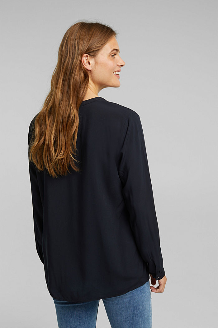 Henley blouse with mother-of-pearl buttons, BLACK, detail image number 3