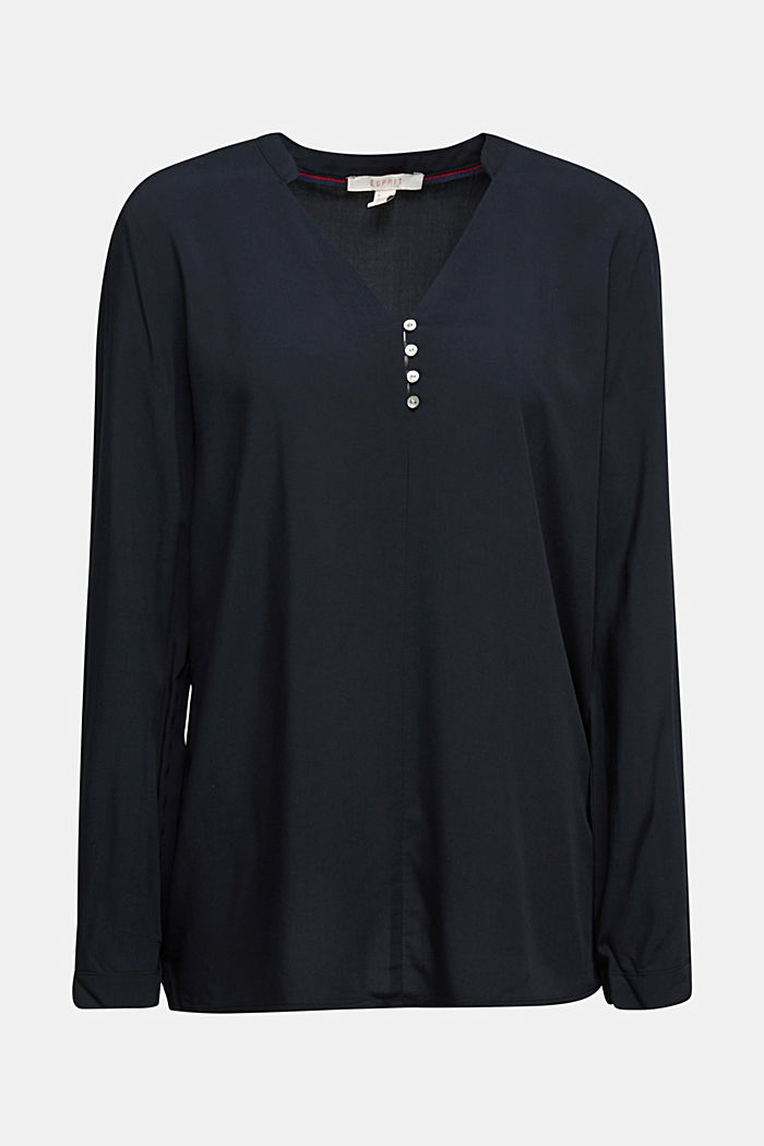 Henley blouse with mother-of-pearl buttons, BLACK, detail image number 6