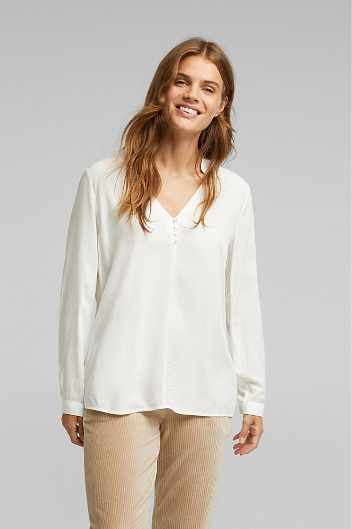 Henley blouse with mother-of-pearl buttons, OFF WHITE, detail image number 0