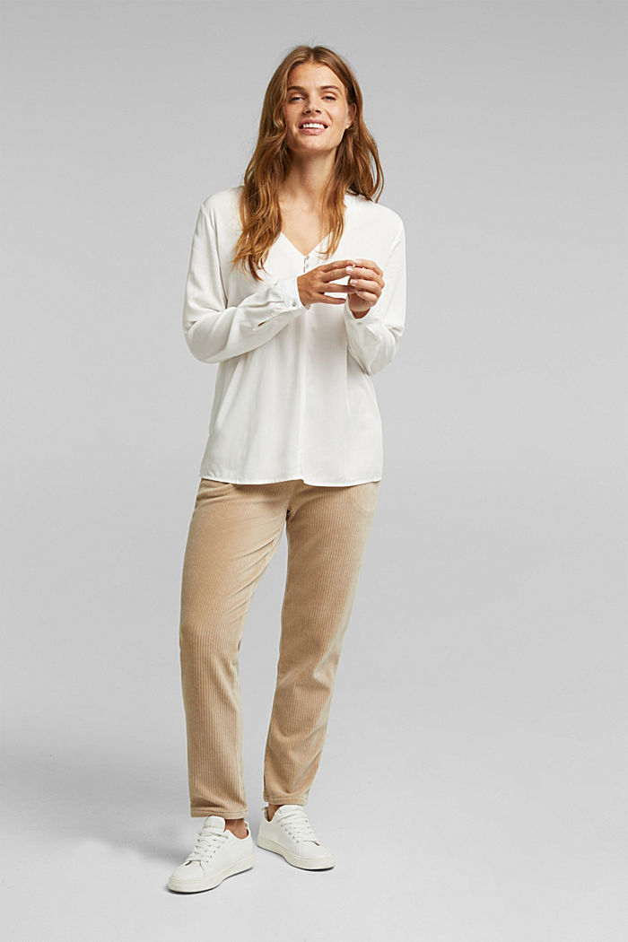Henley blouse with mother-of-pearl buttons, OFF WHITE, detail image number 1