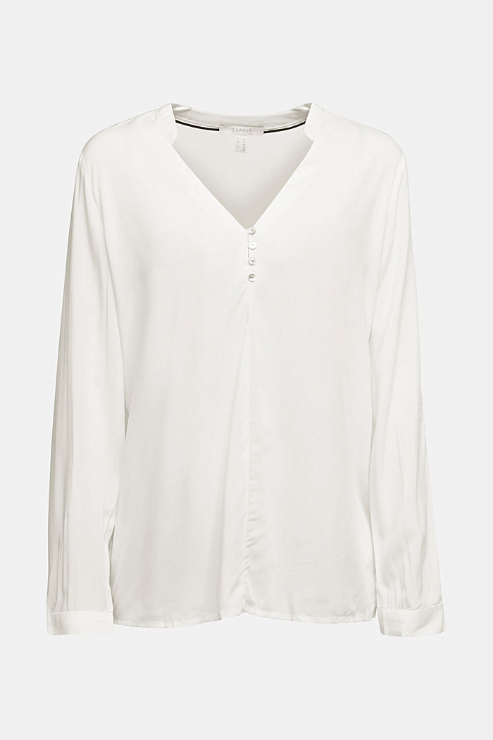 Henley blouse with mother-of-pearl buttons, OFF WHITE, detail image number 5