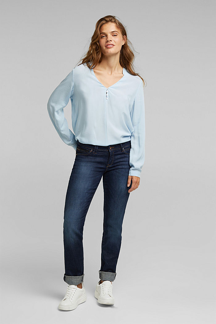 Henley blouse with mother-of-pearl buttons, LIGHT BLUE, detail image number 1