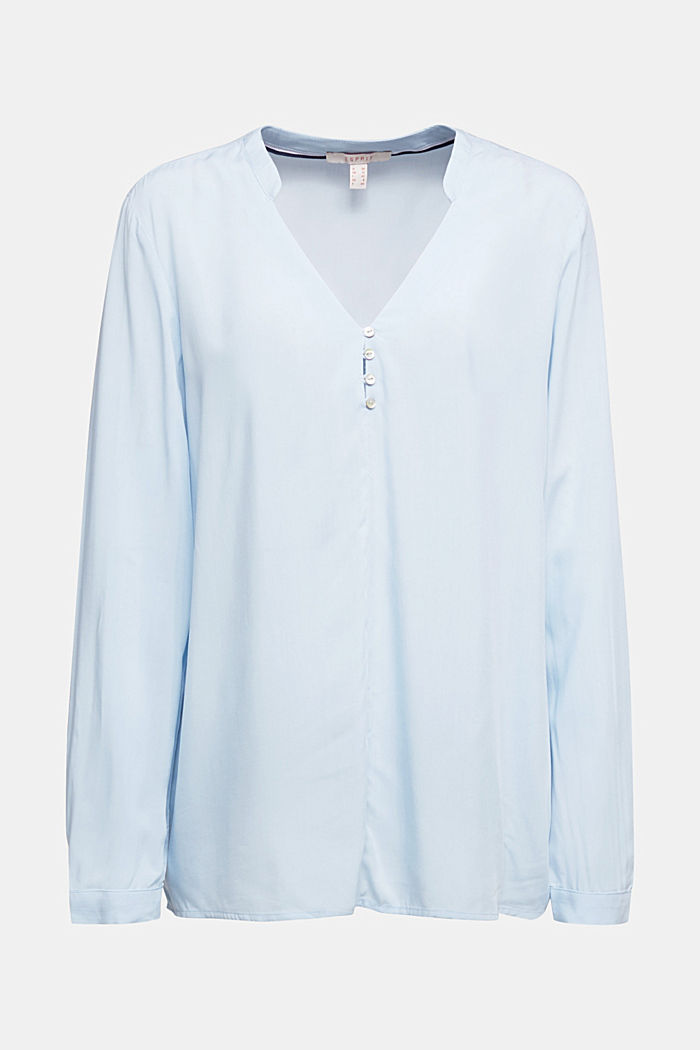 Henley blouse with mother-of-pearl buttons, LIGHT BLUE, detail image number 6