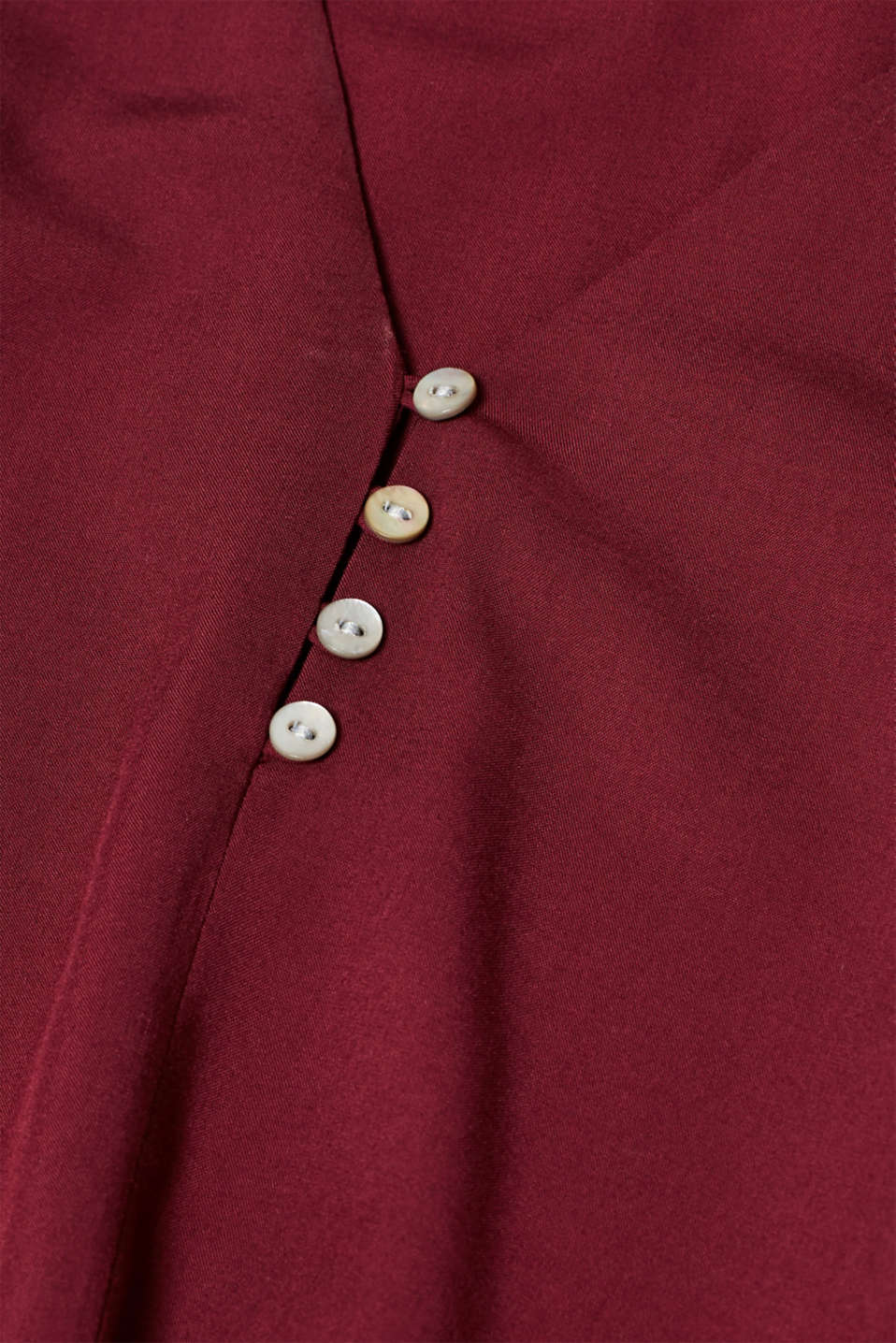 Henley blouse with mother-of-pearl buttons, BORDEAUX RED, detail image number 4