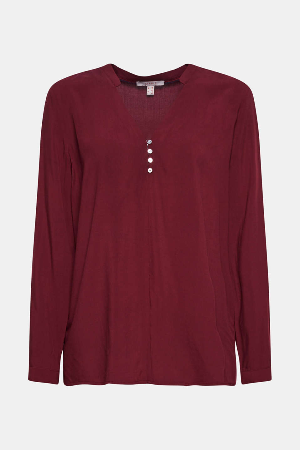 Henley blouse with mother-of-pearl buttons, BORDEAUX RED, detail image number 5