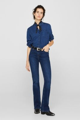 Flowing denim blouse made of 100% lyocell, BLUE MEDIUM WASH, detail