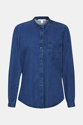 Flowing denim blouse made of 100% lyocell
