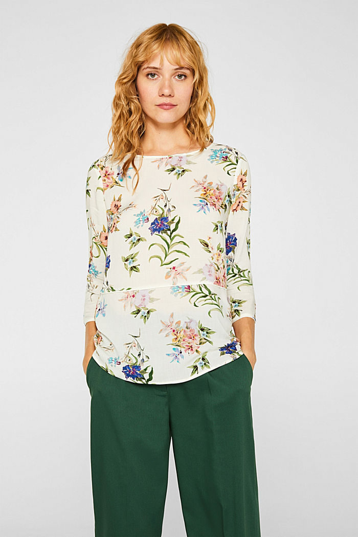 Casual print blouse, OFF WHITE, detail image number 0