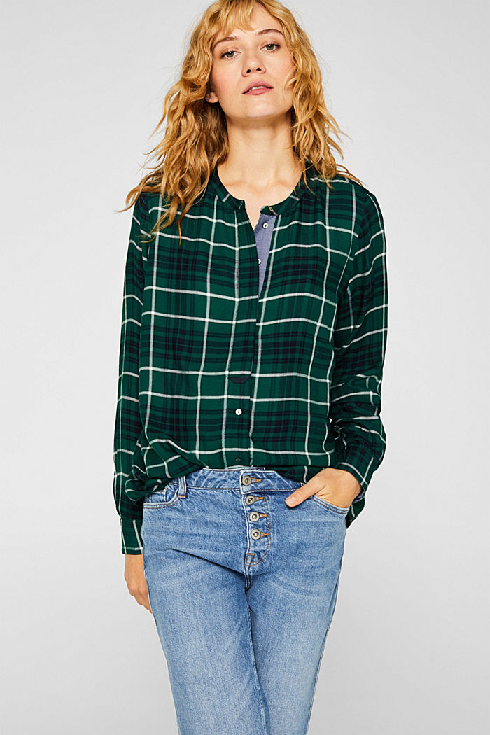 Shirt blouse in a checked pattern, BOTTLE GREEN, detail image number 0