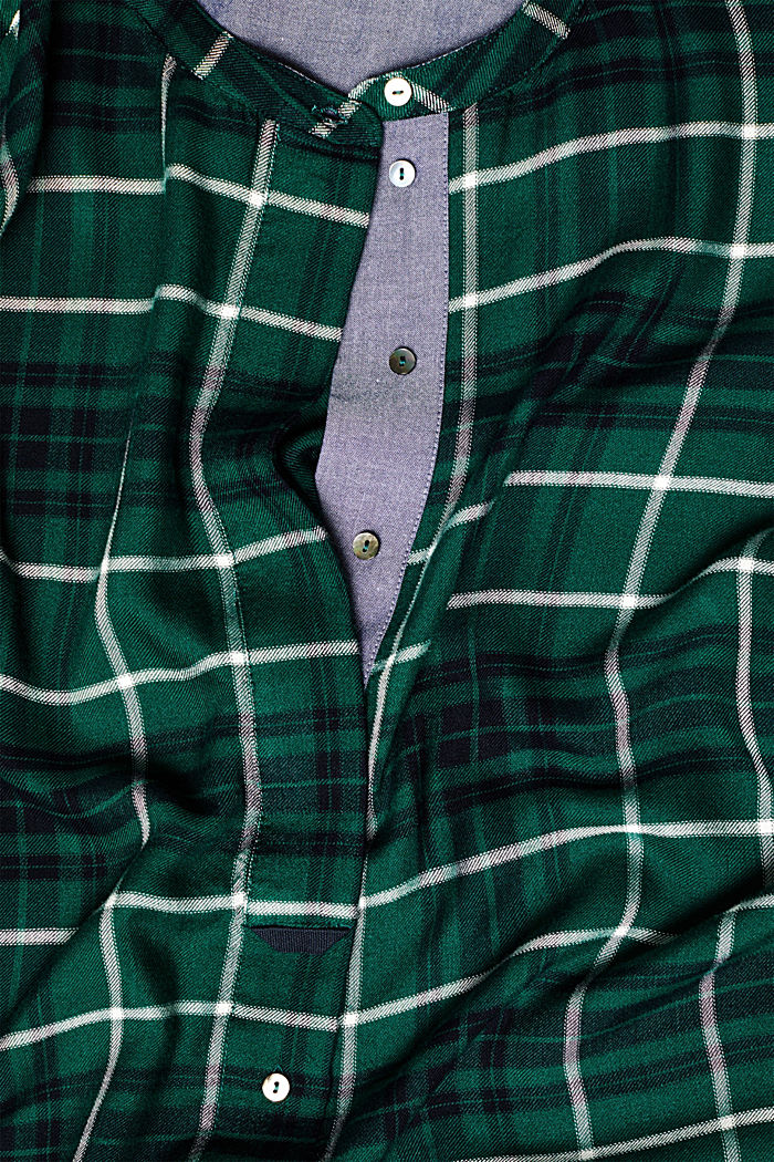 Shirt blouse in a checked pattern, BOTTLE GREEN, detail image number 4