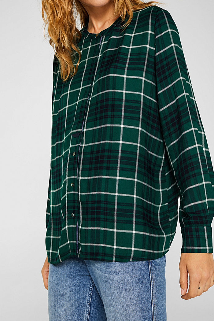 Shirt blouse in a checked pattern, BOTTLE GREEN, detail image number 5