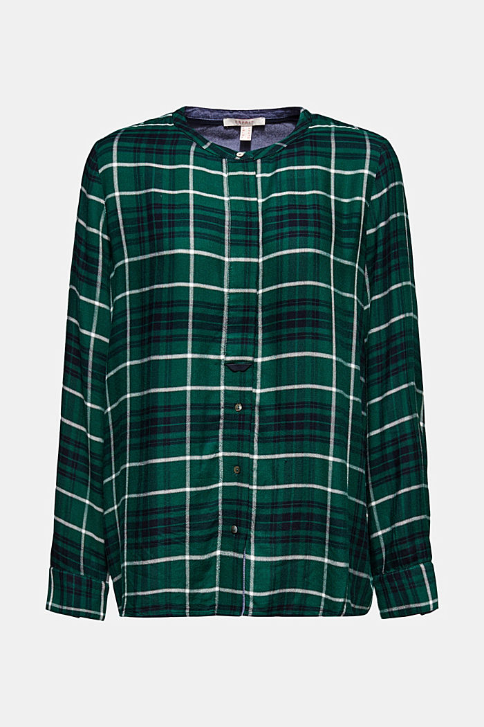 Shirt blouse in a checked pattern, BOTTLE GREEN, detail image number 7