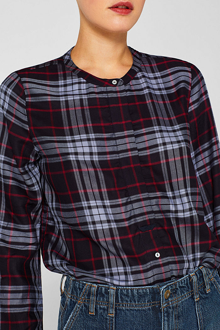 Shirt blouse in a checked pattern, NAVY, detail image number 2
