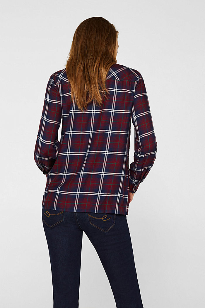 Shirt blouse in a checked pattern, GARNET RED, detail image number 3